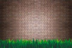 Mur de briques et fond ou papier peint d'herbe illustration de vecteur