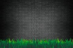 Mur de briques et fond ou papier peint d'herbe illustration stock