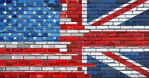 Mur de briques Etats-Unis et drapeaux BRITANNIQUES Photographie stock libre de droits