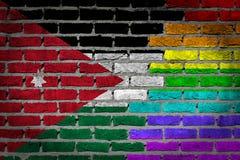 Mur de briques foncé - droites de LGBT - la Jordanie Photo libre de droits
