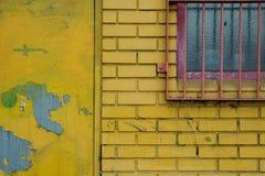 Mur de briques jaune Photographie stock