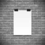 Mur de briques noir et blanc et affiche de papier pour le texte, backgrpund illustration libre de droits