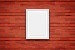 Mur de briques rouge avec le cadre de tableau illustration de vecteur