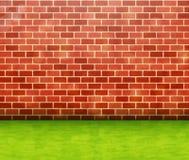 Mur de briques rouge avec le fond de vecteur d'herbe verte illustration libre de droits