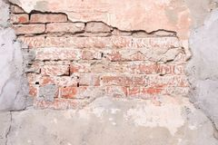 Mur de briques rouge foncé Gray Cement Construction ronde photographie stock libre de droits