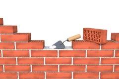 Mur de briques rouge non fini avec le mortier, truelle sur le fond blanc d'isolement Photo libre de droits