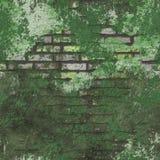 Mur de briques sans joint grunge vert de fond Photos libres de droits