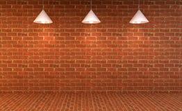 Mur de briques vide avec des lampes ci-dessus Photographie stock libre de droits