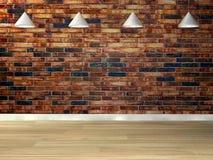 Mur de briques vide avec des lampes ci-dessus Image libre de droits