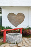 Mur de cerf de brique et vieille eau-bien Photo libre de droits