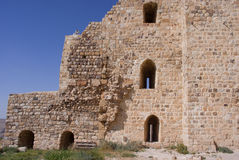 Mur de château de Kerak, Jordanie Photo stock