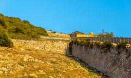 Mur de Charles V au rocher de Gibraltar, une structure défensive du 16ème siècle Photographie stock libre de droits