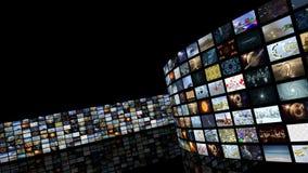 Mur de déroulement animé de vidéo de media Boucle-capable 3D rendant 4k clips vidéos