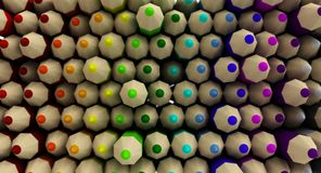 Mur de fond coloré de gradient de crayons Photographie stock libre de droits
