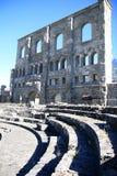 Mur de l'Amphitheatre romain dans Aosta, Italie Images libres de droits