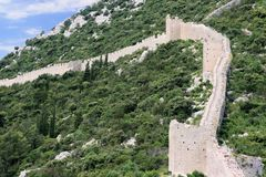 Mur de la défense, Mali Ston, Croatie Photo stock