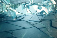 mur de la glace 3D cassé par illustration avec le trou au centre Endroit pour votre bannière, publicité Photos libres de droits