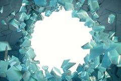 mur de la glace 3D cassé par illustration avec le trou au centre Endroit pour votre bannière, publicité Images stock