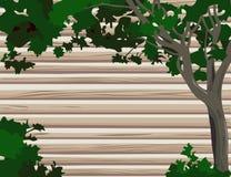 Mur de logarithme naturel avec l'arbre Photographie stock