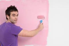 Mur de pépinière de peinture d'homme Photographie stock