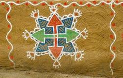 mur de peinture de boue de l'Inde Images libres de droits