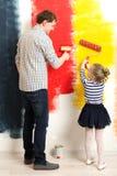 Mur de peinture de père et de fille Images stock