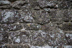 Mur de pierre naturelle avec le lichen Photographie stock
