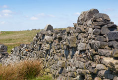 Mur de pierres sèches de Brocken sur la bruyère Images libres de droits