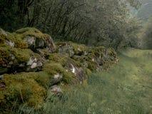 Mur de pierres sèches sur un voyage le long du Naerofjord en Norvège Photographie stock