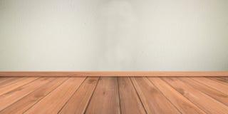 Mur de plâtre de ciment blanc et plancher en bois Photographie stock libre de droits