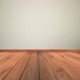 Mur de plâtre de ciment blanc et plancher en bois Image stock