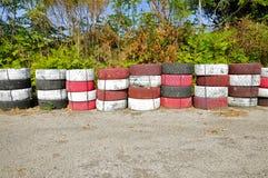 Mur de pneu de Targa Florio Track, Cerda, Sicile Photo libre de droits