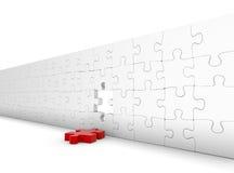 Mur de puzzle avec l'élément rouge d'automne Image stock
