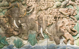 Mur de terre de tuile d'éléphant photo stock
