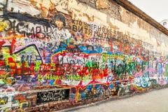 Mur de Tsoi dans le secteur d'Arbat Photos stock