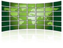 Mur de TV avec la carte du monde Photos stock