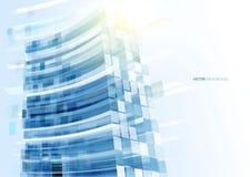 Mur de verre bleu moderne de l'immeuble de bureaux Photographie stock