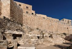 Mur de vieille ville de Jérusalem près de la porte de fumier Photos libres de droits