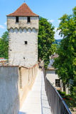 Mur de ville de Lucerne avec la tour médiévale Photos stock