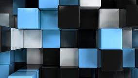 Mur des cubes blancs, noirs et bleus illustration stock