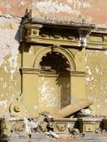 Mur du bâtiment ruiné abandonné après tremblement de terre Photographie stock