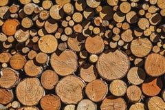 Mur du bois de chauffage de diverses tailles mises exactement ensemble image stock