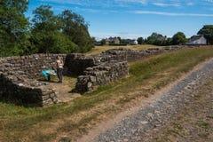 Mur du ` s de Hadrian de mur en pierre photo stock