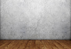 Mur en béton avec le plancher en bois Images libres de droits