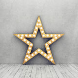 Mur en béton et plancher en bois avec la rétro étoile Photos stock