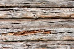Mur en bois de rondins de vieille maison rurale comme fond Photos libres de droits