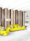 Mur en bois minimal de conception intérieure de chambre à coucher, sofa jaune rendu 3d illustration 3D Photographie stock libre de droits