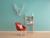 Mur en bon état vert sur le plancher en bois avec la table de fonctionnement et le fauteuil rouge Image stock