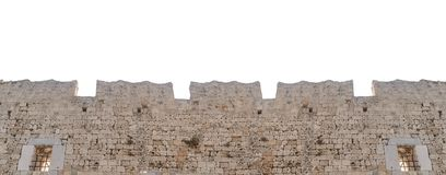 Mur en pierre de grand vieux château médiéval de tour d'isolement sur le blanc Photo stock