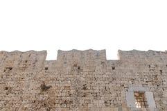 Mur en pierre de grand vieux château médiéval de tour d'isolement sur le blanc Images stock